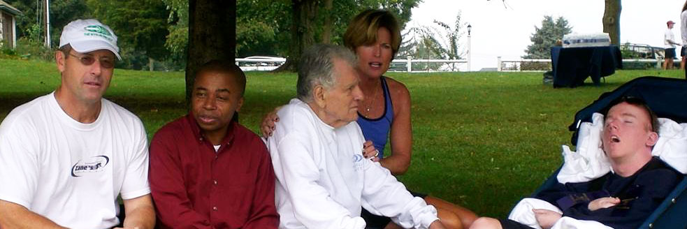 Jack, Jean and Brian Kelley with Augusto Odone, father of Lorenzo Odone, and Oumouri Hassane, Lorenzo Odone's former caregiver