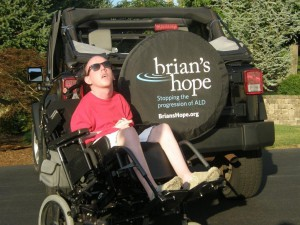 Brian, today, with the Brian's Hope logo