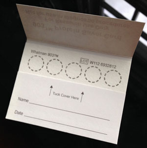 Newborn Screening Card example used to collect blood from a heel-prick of a newborn after birth